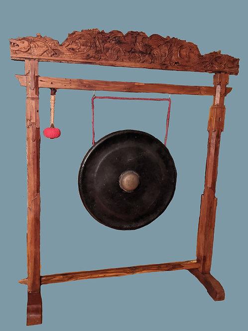 Huge Balinese Nipple Gong with Teakwood stand