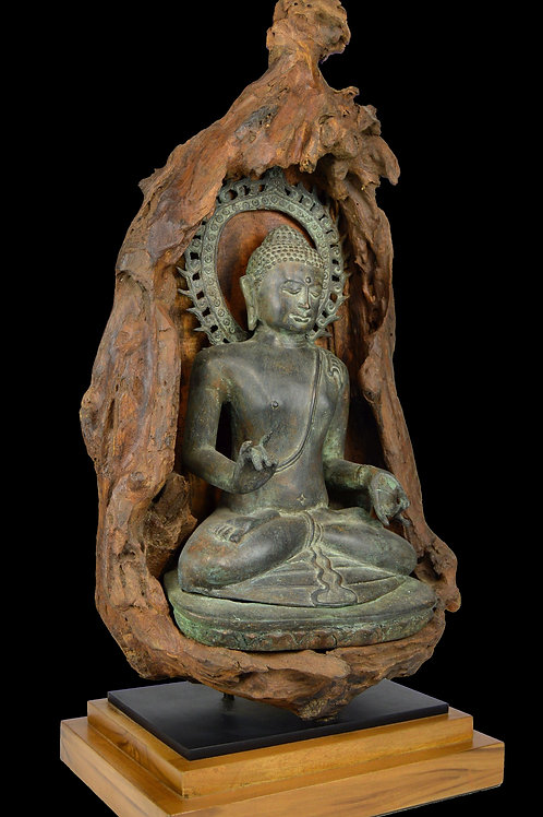 Cast Bronze Buddha in Natural Wood Shrine ~ Organic Modern Temple Decor