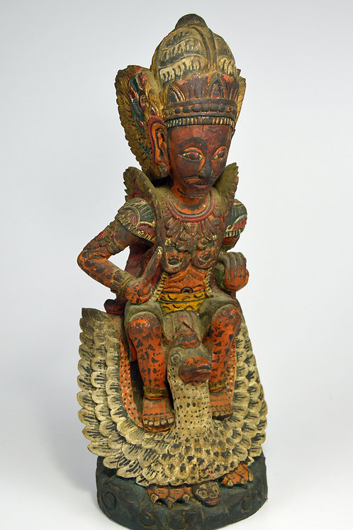Fine Old Lord Brahma Riding a Swan Wood Sculpture
