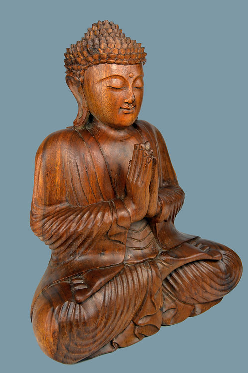 Large Hand Carved Wooden Buddha In Prayer Sculpture, Home or Temple Decor