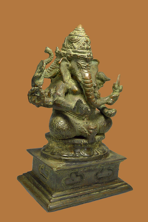 A Three Headed Ganesha Bronze Sculpture