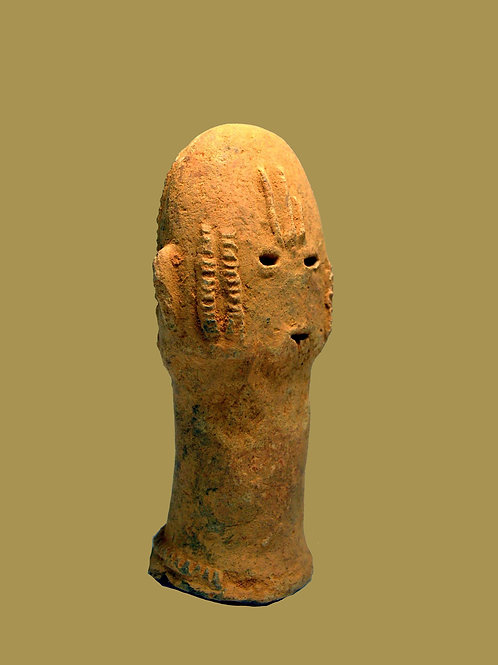 # 2 Ancient Bura Terracotta Head Relic 300 AD