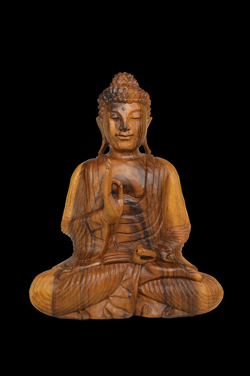 Hand Carved Wooden Buddha In Meditation, Teaching Pose