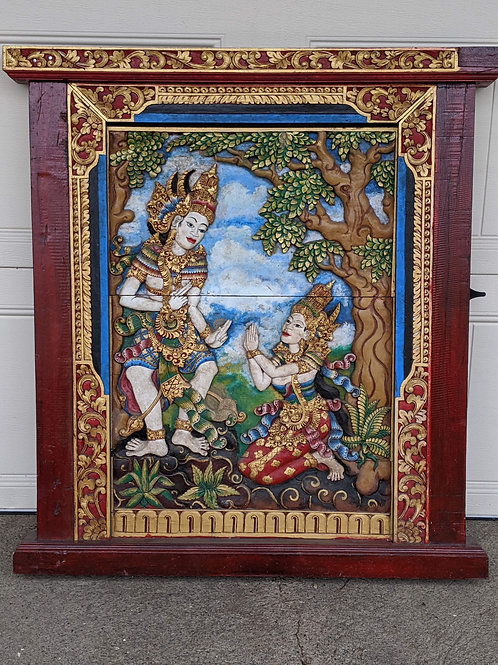 Large Carved Panel of Rama & Sita from Bali