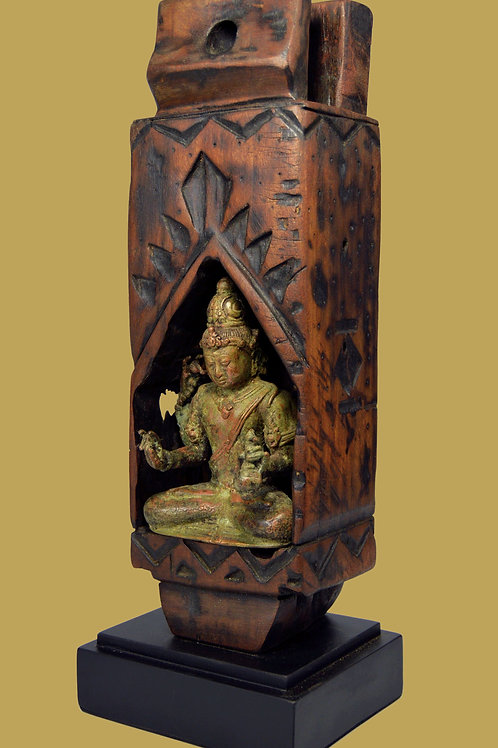 Four Armed Bronze Shiva in Wooden Shrine Sculpture