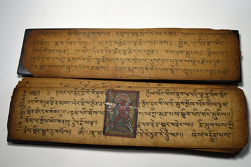 Antique Tibetan Prayer Book with Deity paintings