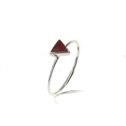 Red Coral Triangle Ring