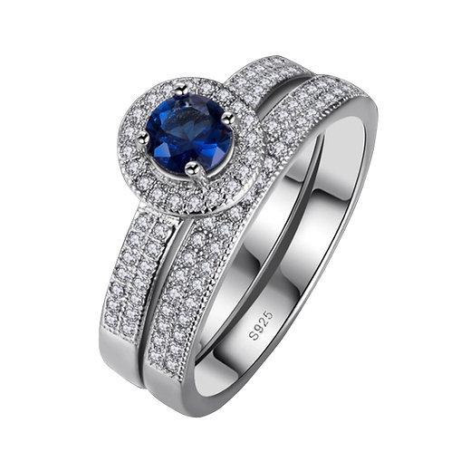 Blue Sapphire Zirconia Double Ring