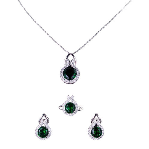 Emerald Green Pendant with Earring and Ring set