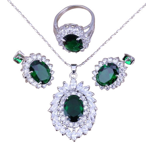 Green Emerald White Topaz Set
