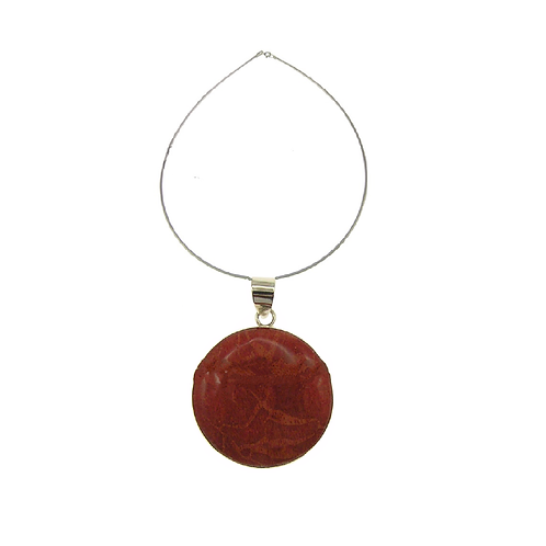 Red Coral Round Pendant