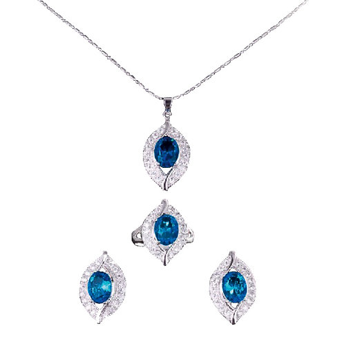 Blue Sapphire Pendant with Earring and Ring Set