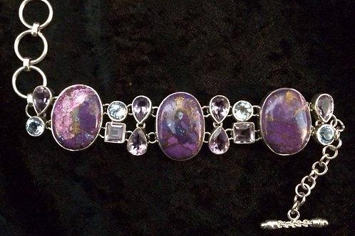 Purple Mohave Turquoise, Amethyst & Blue Topaz Bra