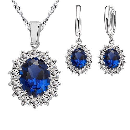 Ocean Blue Pendant with Earring Set