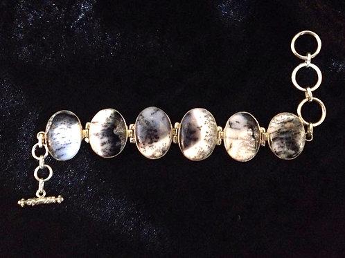 Dendritic Agate Stone Bracelet Sterling Silver