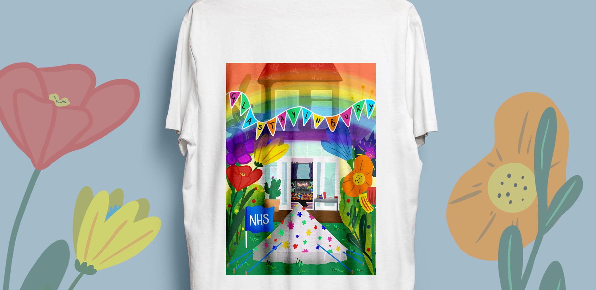 Glastayinbury White T-Shirt Back