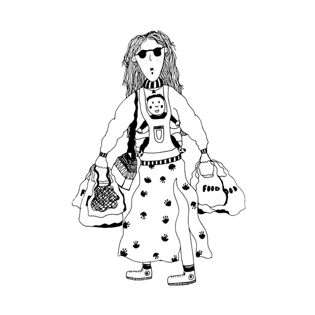 Sassy shopping mumma illustration