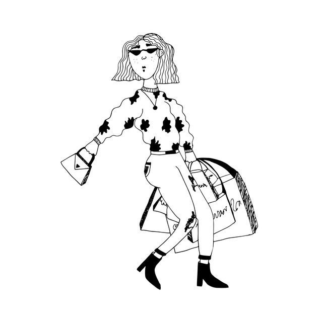 Sassy shopping lady illustration