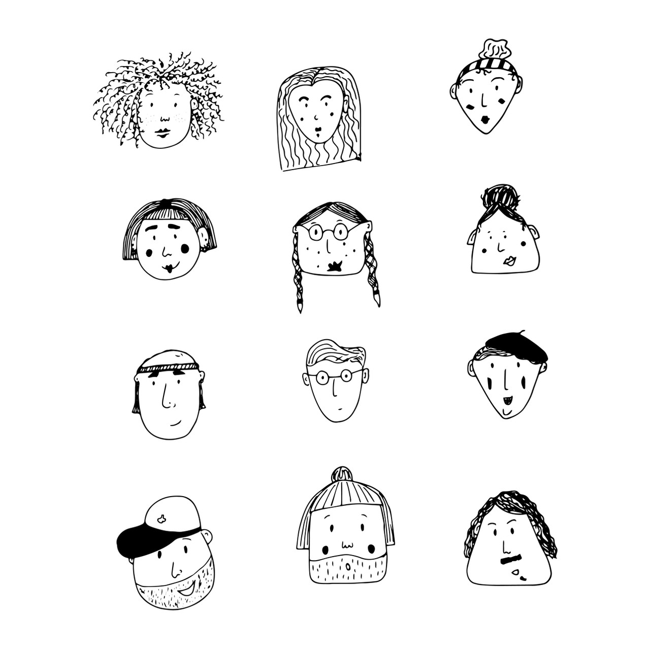 Many faces illustration