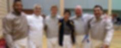 Adult saber squad at a tournament
