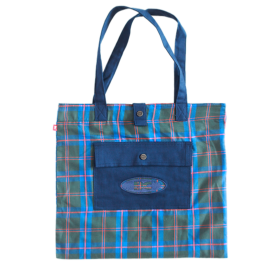 """""""GOODS"""" TOTE BLUE CHESS"""