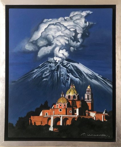 Iglesia de Cholula y Popocatépetl