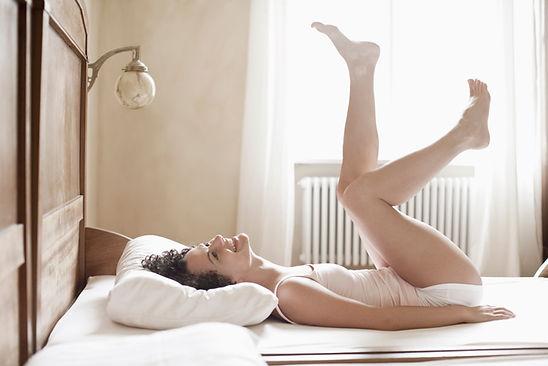 ベッドの上で遊びます