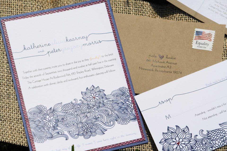 Burlap + Button Wedding Invitations