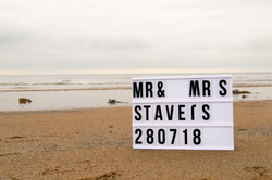 Bride and Groom to be Lightbox beach