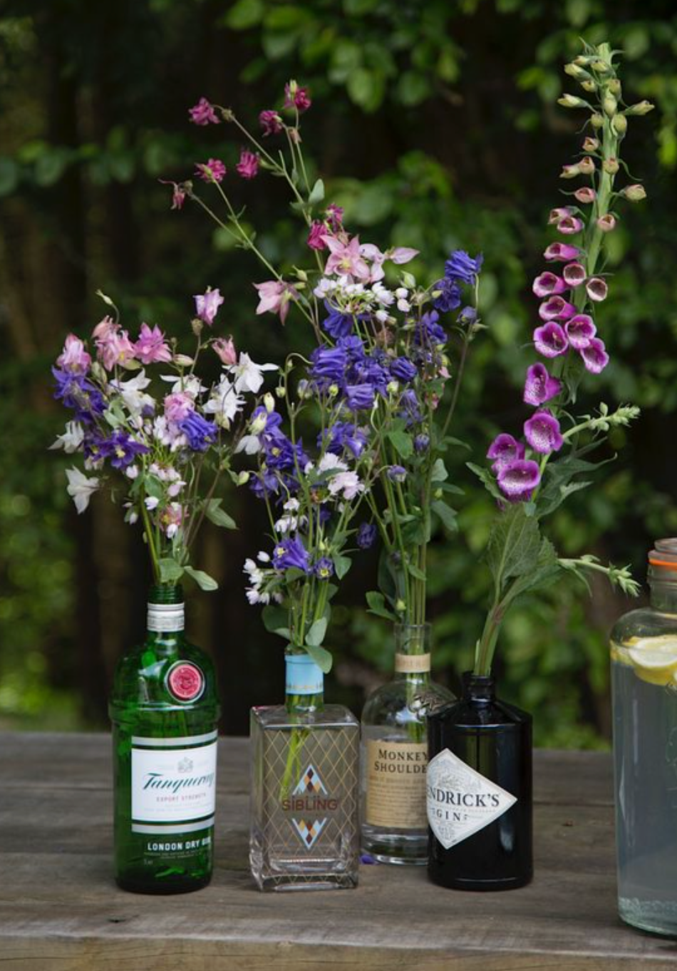 alcohol centre pieces tequila gin vodka spirits for a wedding venue