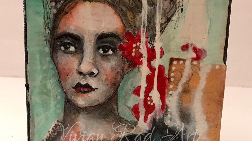 Connect the Dots Series: Mixed Media Painting of a Woman
