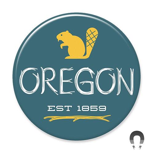 Blue Oregon Beaver Magnet