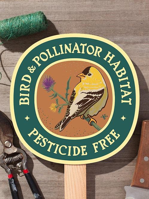 Goldfinch Bird and Pollinator Habitat Garden Sign