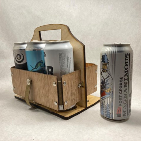 Wooden Foldable 6-Pack Beverage Carrier