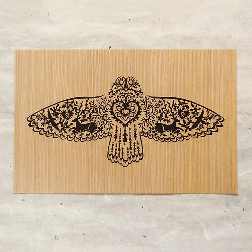 Owl Flying Wood Print