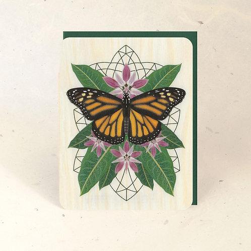 Monarch & Milkweed Wood Greeting Card