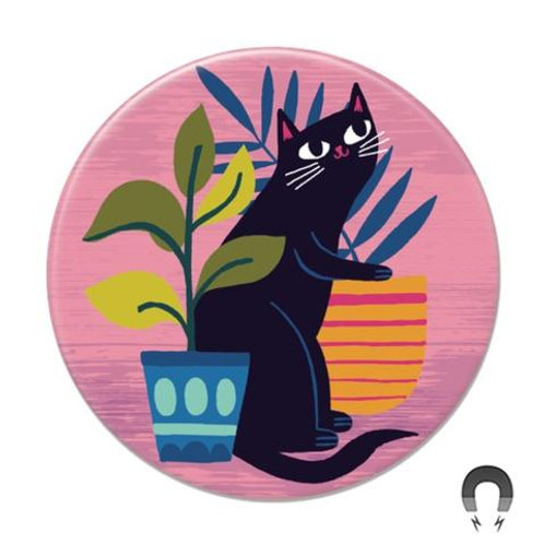 Black Cat with Plants Magnet