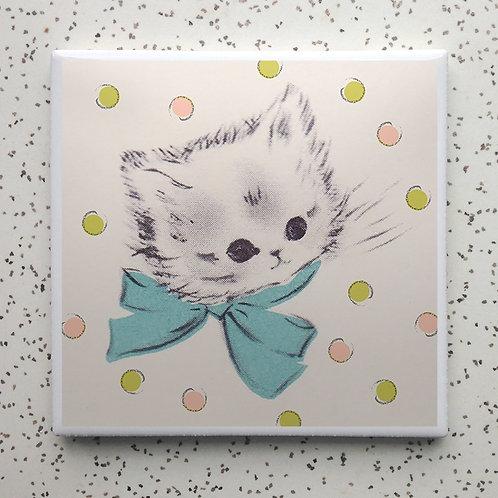 Polka Dot Kitty Coaster