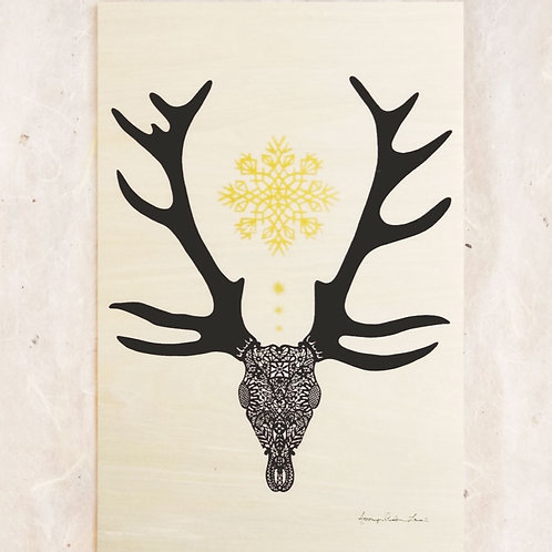 Lace Stag Wood Print