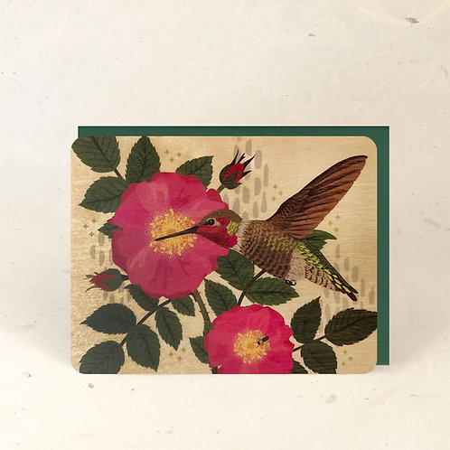Hummingbird & Wild Rose Wood Greeting Card