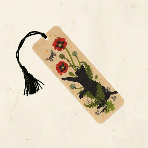 Black Cat and Poppies Bookmark