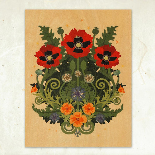 Poppy and Spider Wood Print