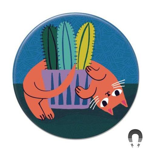 Orange Cat Cactus Magnet