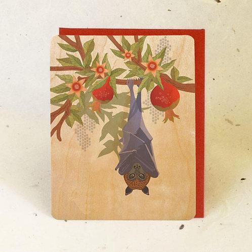 Fruit Bat & Pomegranate Wood Greeting Card