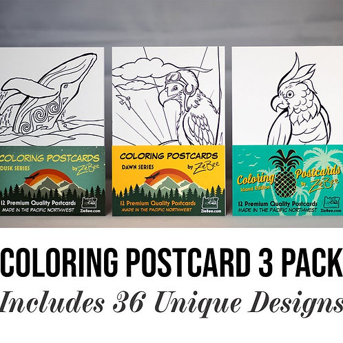 Coloring Postcards Pen Pal 3-Pack