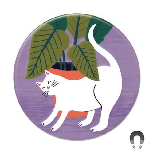 White Cat with Plant Magnet