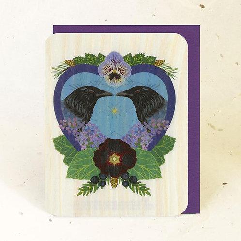 Crow Heart Wood Greeting Card