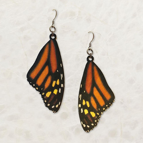 Monarch Butterfly Wing Birch Wood Earrings