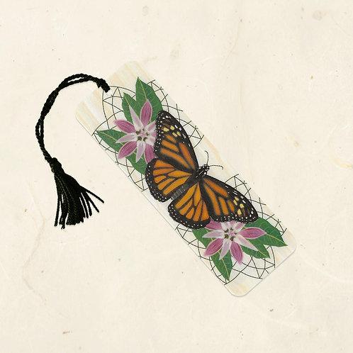 Monarch & Milkweed Wood Bookmark