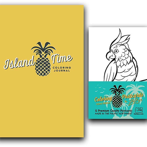 Island Time Coloring Journal + Postcard Pack